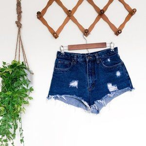 High Waisted Vintage Distressed Cheeky Shorts